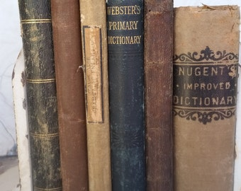 Shabby Primitive Antique Earthtone 1800's French and English Textbook and Dictionary Collection from Rustysecrets