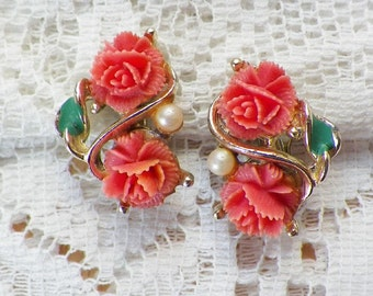 Vintage Peach / Tea Rose Rose Clip On Earrings, Faux Pearls, Gold Tone Metal, Pearl, Roses