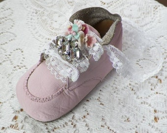 Vintage Baby Shoe Ornament, Painted Light Pink, Lace Shoelaces, Embellished Vintage Jewelry / Millinery Flowers, Nursery / Baby Room Decor