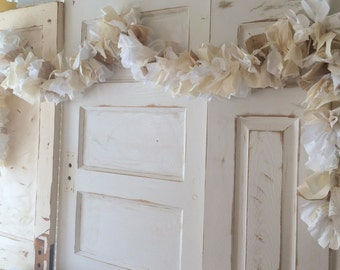 Burlap Wedding Decoration. Vintage Fabric and Burlap Garland. Cream and White, 6-10 foot Handmade Garland for Wedding or Bridal Shower