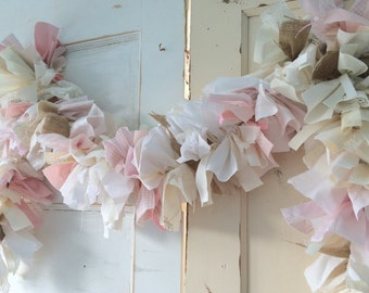 Burlap And Pink Girls Baby Shower Decoration. 6 10 Foot Fabric Garland  Banner.