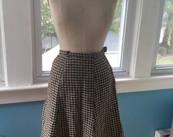 Vintage 1960s Plaid Mad Men-Style Skirt