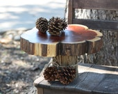 "Tree Slice Cake Stand, cupcake stand, dessert bar, server, 12"" diameter x 7.5"" tall, cedar wood, rustic, outdoor, backyard, barn or woodland"