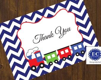 Train Thank You Card, Thank You Card, Train Invitation, Train Birthday, Chevron, Blue Chevron, Trains - Instant Download