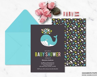 Whale of A Good Time Baby Shower Invitation