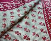 Floral Block Print Indian Sari Fabric By The Yard, Hand Printed Red White Saree, Indian Fabrics, Cotton Saree, Indian Cotton Fabric