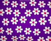 Daisy Fabric, Indian Block Print Fabric, Floral Print Fabric, Broadcloth Fabric, Violet Large Floral Design Fabric, Indian Cotton Fabrics