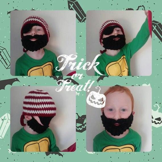 Boys Pirate Costume Beard Beanie, Boys Pirate Bandana Hat and Beard, Boys Eye Patch and Beard Costume, Children's Pirate Costume with Beard