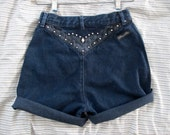 Hipster High Waist Cowgirl Shorts Western Studded Sassy Ass Canada Denim W 26, Cut Offs Blue Jean High Waisted Shorts size S to M 8 10