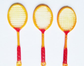 3 Plstic Tennis Racket Charms Vintage