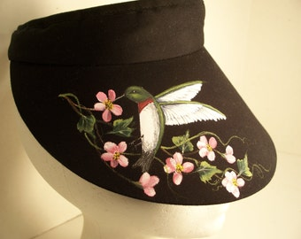 Ladies Large Brim Black Sun Visor with Hummingbird and Pink Cherry Blossoms
