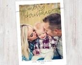 Photo Christmas Card : Merry Christmas Script Custom Photo Holiday Card Printable, Modern, Polaroid, Simple