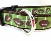 Dog Collar, Football, 1 inch wide, adjustable, quick release, metal buckle, chain, martingale, hybrid, nylon
