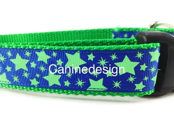 Dog Collar, Blue Green Stars, Glow in the Dark, 1 inch wide, adjustable, quick release, metal buckle, chain, martingale, hybrid, nylon