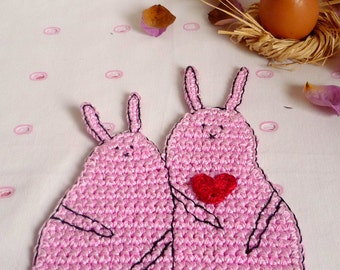 Crochet Rabbit Coaster - Bunny Coaster - Pink Rabbit - Animal Coaster - Wedding Gift - Valentine's Gift - Gift for Girlfriend - Gift for Her