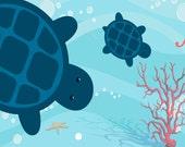 Aquarium with Turtles Plush Fuzzy Area Rug -  Color Combo Caribbean Blue -Size 48x30, 60x48, 96x44-Add your Monogram