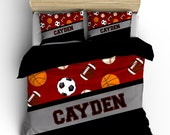 All Sports 4 Ball Bedding, Dark Red or any color,  Personalized with your Name, Available Toddler, Twin, F-Queen or King Size