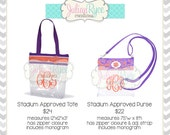 Clemson Tiger Custom Monogrammed Stadium Approved Clear Transparent Bag Purse Tote Zipper Zippered Top for Football Sporting Sport Events
