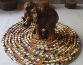 Coiled Table Mat, Trivet  or Hot Pad in Shades of Brown - Small Round, Neutral Colors, Autumn, Fall Colors, Heat Absorbent