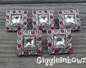 Sale Rhinestone Buttons- 5pc Clear/Shocking Pink Rhinestone Buttons- 25mm Headband Supplies-Diy Supplies- Sewing Button- Diy Baby Headband