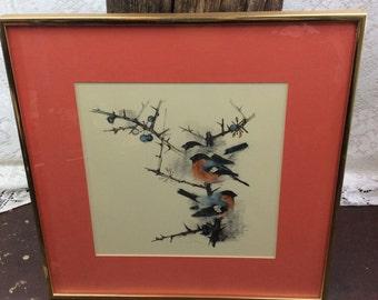 Vintage Framed Bird & Branch Signed Art