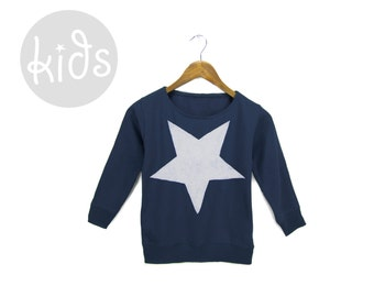 Star Sweatshirt - Crew Neck Pullover Fleece Long Sleeve Pocket Sweater in Navy and White - Baby Kids & Youth Sizes