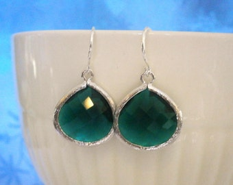 Emerald Green Earrings, Jewelry Sale, Silver Earrings, Bridal Jewelry, Holiday Gift, Wife Gift, Mom Gift