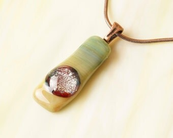 Handmade Dichroic Copper Fused Glass Pendant Necklace