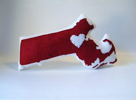 Ready Made Massachusetts State Pillow in red