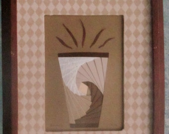 """Unique Framed Iris Folded Coffee Cup, 3-D Appearance Paper Art, Browns, Coffee Tones, Diamond Fabrid Mat, Wood Frame, 8.75x10.75"""" Cup of Joe"""