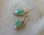 Seafoam Green Ancient Roman Glass and Tourmaline Earrings