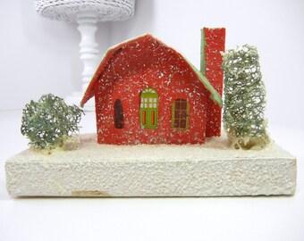 Mica Putz Barn / Putz house / marked Japan / red barn / seaweed trees / snow/ vintage / Putz / green / Christmas in July / CIJ