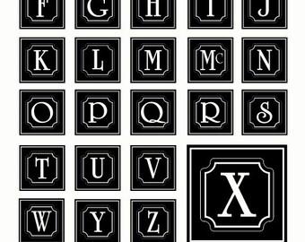 Alphabet SVG Files, Framed Monogram SVG Files, Monogram SVG Files, Last Name Initial Font File, Alphabet Cricut Svg, Eps Ai Svg Gsd