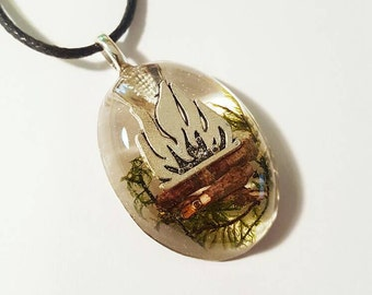 Fire Charm Real Green Moss Tree Twigs Bohemian Jewelry Nature Pendant  Resin Necklace  Bonfire Earth  Camping Camp