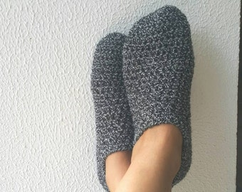 Black Grey Tweed Crochet Womens Slippers, Ballet Flats, House Shoes