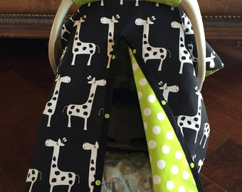 Black Giraffe and Lime Green Baby Car seat Cover / Shower Gift