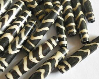 Bone beads, tube beads, bone tube beads, tribal beads, ethnic beads, brown bone beads, 35mm bone beads, 12pc