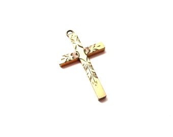 Signed Sturdy Dainty Vintage 1/20 12K Gold Filled GF Etched / Engraved Religious Metal Cross Pendant