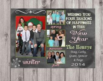 Digital Chalkboard Style Shabby Chic Happy New Year Greeting Card