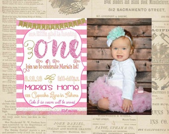 Digital White Pink and Gold Glittery Birthday Girl First Photo Invitation Personalized Printable Any Age
