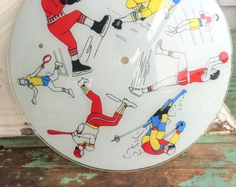 Vintage Retro Glass Ceiling Light Cover Shade Fixture Sports Figures People