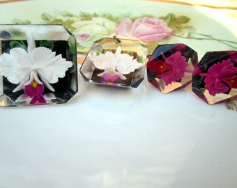 Vintage Reverse Carved Lucite Orchid Pendant Brooch and earrings Set