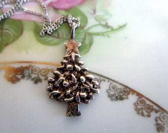 Vintage 925 Sterling Silver Holiday Christmas Tree Necklace Pendant
