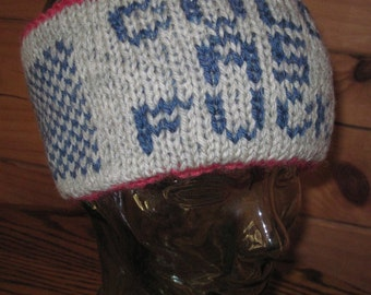 """Hand Knit Headband Cold As F**k Ski Band Double Layer Wool 4 """" Wide Gray Blue  Free US Shipping"""