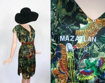 Vintage Beach Cover Up / 70s Bathing Suit Cover / 1970s Resort Souvenir Tropical Dress / Jungle Cat Monkey Bird Print / Beachwear / Open Fit