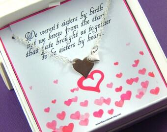 Best Friends Necklace, Sterling Silver Heart Necklace, Sisters Necklace, Friendship Necklace, Gift Boxed Jewelry