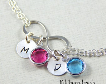 Personalized Infinity bracelet with initials and birthstones, mothers bracelet, sterling silver