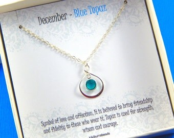 December Birthstone Necklace, Personalized infinity necklace, Blue Topaz, birthstone jewelry, gift boxed necklace