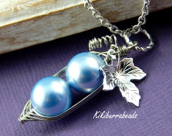 Peas In A Pod, Two Peas In A Pod Necklace - Blue Swarovski Pearls