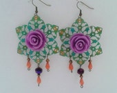 Boho Hippie Gypsy Large Colorful Floral Earrings
